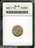 1893-O 10C MS63 ANACS. Frosty luster underlies a thin veneer of champagne patina. Light contact marks are seen on Libert...