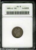 Barber Dimes: , 1895-O 10C VG8 ANACS. Next to the prohibitively rare 1894-S, the '95-O dime is the undisputed key to the Barber Dime series...