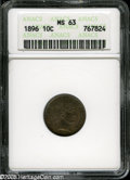 Barber Dimes: , 1896 10C MS63 ANACS. Sharply struck, with no significant marks, anddeep mauve and gray toning....