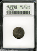 Barber Dimes: , 1901-S 10C--Cleaned--ANACS. AU Details, Net XF45. Lightly hairlinedmedium gray surfaces are seemingly devoid of significan...