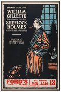 Books:Mystery & Detective Fiction, Arthur Conan Doyle and William Gillette. Sherlock Holmes. Baltimore: 1930. Original lithographic theater poster with... (Total: 2 Items)
