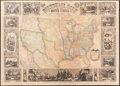 Books:Maps & Atlases, [Ensigns and Thayer]. Pictorial Map of the United States,1848. New York: 1847. U. S. wall map with hardware....