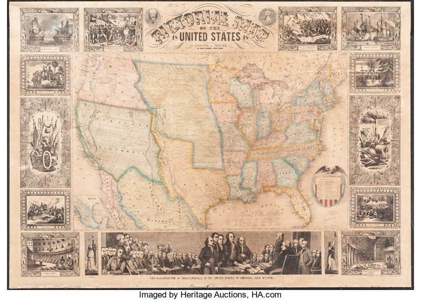 Ensigns And Thayer Pictorial Map Of The United States 1848 New