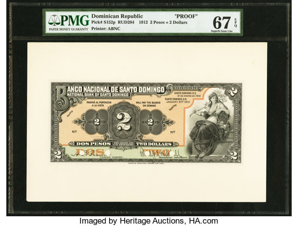 Dominican Republic Banco Nacional De Santo Domingo 2 Pesos Lot 29143 Heritage Auctions