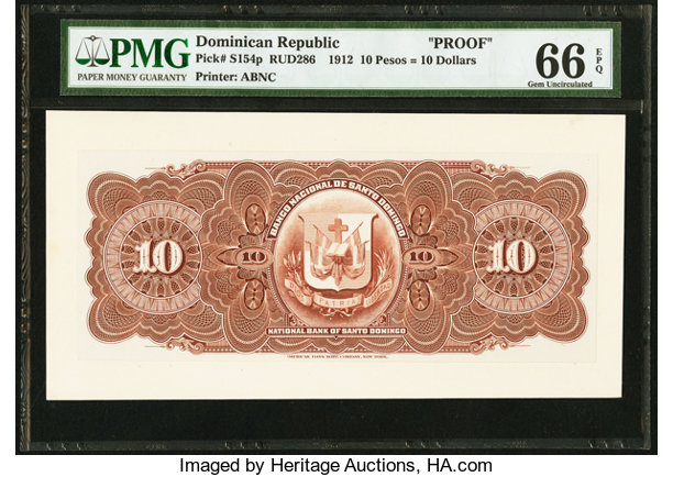 World Currency Dominican Republic Banco Nacional De Santo Domingo 10 Pesos 10dollars 1912 Pick