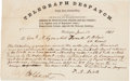 Autographs:Military Figures, Civil War Telegraph to Nathaniel Lyon. ...