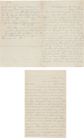 Autographs:Military Figures, [Civil War]. Two Unknown Soldier's Letters Signed ...