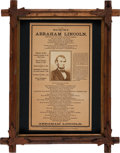 Political:Presidential Relics, Abraham Lincoln Memorial Broadside with Albumen. ...