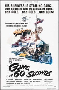 "Gone in 60 Seconds (New City Releasing, 1974). One Sheet (27"" X 41"") Edward Abrams Artwork, & Lobby Ca..."