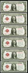 Small Size:Legal Tender Notes, Fr. 1500 $1 1928 Legal Tender Notes. Cut Half Sheet. Choice Crisp Uncirculated.. ... (Total: 6 notes)