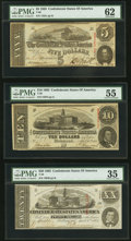 Confederate Notes:1863 Issues, PMG Graded 1863 Trio.. ... (Total: 3 notes)