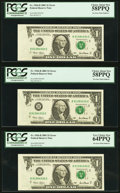 Error Notes:Foldovers, Fr. 1926-B $1 2001 Federal Reserve Notes. Consecutive Run of Three.PCGS Very Choice New 64PPQ and Choice About New 58PPQ (2)....(Total: 3 notes)