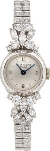 Estate Jewelry:Watches, Patek Philippe Lady's Diamond, Platinum, White Gold Watch . ...