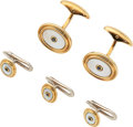 Estate Jewelry:Cufflinks, Sapphire, Mother-of-Pearl, Gold Dress Set, Gump's. ... (Total: 4 Items)
