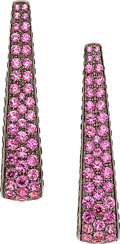 Estate Jewelry:Earrings, Pink Sapphire, Colored Diamond, Gold Earrings, Palmiero . ...