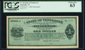 Obsoletes By State:Tennessee, Nashville, TN- State of Tennessee $1 Oct. 1, 1885 Remainder Cr. 44. ...