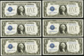 Small Size:Silver Certificates, Fr. 1601 $1 1928A Silver Certificates. Cut Half Sheet of Six Y-B Experimentals. Choice Crisp Uncirculated.. ... (Total: 6 notes)