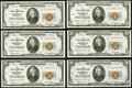 Fr. 1870-I $20 1929 Federal Reserve Bank Notes. Six Consecutive Examples. Choice Crisp Uncirculated