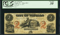 Obsoletes By State:Iowa, Wapello, IA- City of Wapello $2 Aug. 31, 1857 Oakes 110-2 (New). ...