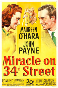"""Miracle on 34th Street (20th Century Fox, 1947). One Sheet (27"""" X 41"""")"""