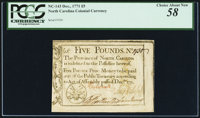 North Carolina December, 1771 £5 Drum, cannon & flags PCGS Choice About New 58