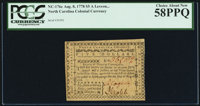 North Carolina August 8, 1778 $5 A Lesson to Arbitrary Kings PCGS Choice About New 58PPQ