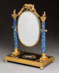 Decorative Arts, Continental:Other , A Continental Gilt Bronze, Lapis Lazuli, and Pietra Dura VanityMirror. 16-1/2 x 12-1/2 x 8 inches (41.9 x 31.8 x 20.3 cm). ...