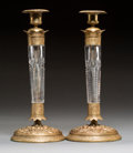 Decorative Arts, Continental:Other , A Pair of Charles X-Style Gilt Bronze-Mounted Cut CrystalCandlesticks. 11-3/4 x 5-1/8 inches (29.8 x 13.0 cm) (each) . ...(Total: 2 Items)