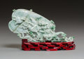 Asian:Chinese, A Chinese Carved Burmese Jade Fan on Stand. 4-7/8 x 8-1/8 x 1-3/8inches (12.4 x 20.6 x 3.5 cm) (fan on stand). ... (Total: 2 Items)