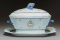 Asian:China Trade, A Chinese Export Armorial Porcelain Tureen and Underplate, Qing Dynasty, early 19th century. 8 x 13 x 8-1/2 inches (20.3 x 3... (Total: 3 Items)