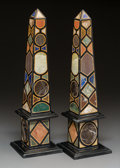 Decorative Arts, Continental:Other , A Pair of Neoclassical-Style Specimen Marble Obelisks . 21-1/4 x 6x 6 inches (54.0 x 15.2 x 15.2 cm). ... (Total: 2 Items)