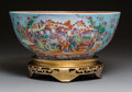 Ceramics & Porcelain, A Very Large Famille Rose Porcelain Punch Bowl on Giltwood Stand, 19th century. 7 x 16 inches (17.8 x 40.6 cm) (bowl, exclud... (Total: 2 Items)