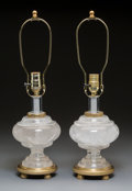 Decorative Arts, French:Lamps & Lighting, A Pair of French Gilt Bronze Mounted Rock Crystal Lamp Bas...
