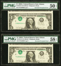 Error Notes:Inverted Third Printings, Inverted Overprint. Fr. 1915-F $1 1988A Federal Reserve Note.Consecutive Pair. PMG Choice About Unc 58 EPQ and About Uncircul...(Total: 2 notes)