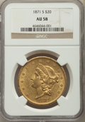 Liberty Double Eagles: , 1871-S $20 AU58 NGC. NGC Census: (493/186). PCGS Population: (160/146). CDN: $1,325 Whsle. Bid for problem-free NGC/PCGS AU...