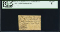 North Carolina April 2, 1776 $1 Scroll with denomination in white PCGS Very Good 8