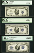 Small Size:Silver Certificates, Fr. 1704 $10 1934C Silver Certificate. PCGS Gem New 66PPQ;. Fr. 1705 $10 1934D Wide Silver Certificate. PCGS Very Choice N... (Total: 3 notes)