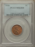 Lincoln Cents: , 1928 1C MS63 Red and Brown PCGS. PCGS Population: (74/296). NGC Census: (60/244). CDN: $15 Whsle. Bid for problem-free NGC/...