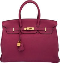 Hermes 35cm Tosca Togo Leather Birkin Bag with Gold Hardware O Square, 2011 Condition: 2<