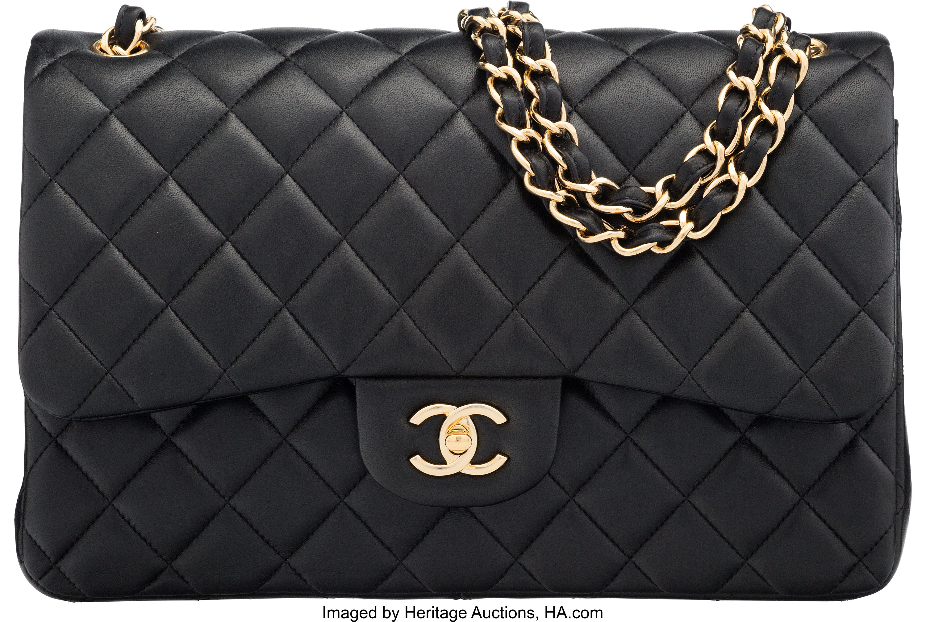 6d49e2bc8 Chanel Black Quilted Lambskin Leather Jumbo Classic Double Flap Bag | Lot  #58058 | Heritage Auctions