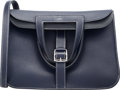 "Luxury Accessories:Bags, Hermes 31cm Blue Nuit Clemence Leather Halzan Bag with Palladium Hardware. X, 2016. Condition: 2. 12"" Width x 8"" H..."