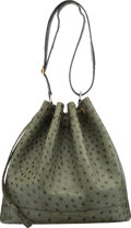"""Luxury Accessories:Bags, Hermes Vert Olive Ostrich Market Bag with Gold Hardware. Circa 1980s. Condition: 4. 10.5"""" Width x 11"""" Height x 6"""" ..."""
