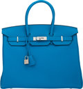 Luxury Accessories:Bags, Hermes Limited Edition 35cm Blue Zanzibar & Malachite Togo Leather Birkin Bag with Palladium Hardware. X, 2016. Condit...