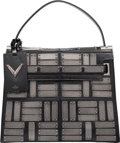 """Luxury Accessories:Bags, Valentino Black Leather & Gunmetal-Plated Bag. Condition:2. 12"""" Width x 10"""" Height x 4.5"""" Depth. ..."""