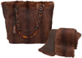 """Luxury Accessories:Accessories, Chanel Set of Two: Mink Fur Shoulder Bag & Scarf. Condition: 2. 12"""" Width x 11"""" Height x 4.5"""" Depth. 44"""" Width x 4... (Total: 2 )"""