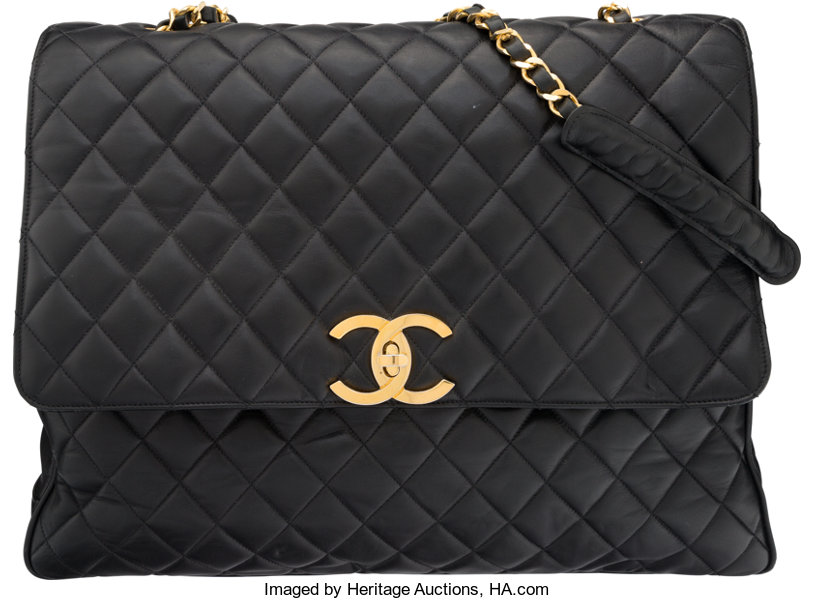 Chanel Black Quilted Lambskin Leather Messenger Bag with  3f33ef3284a69