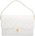 """Luxury Accessories:Bags, Chanel White Quilted Lambskin Leather Double Sided Flap Bag with Gold Hardware. Condition: 3. 10"""" Width x 6.5"""" Height ..."""