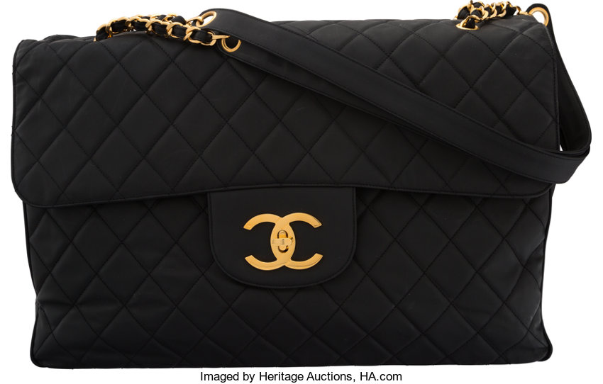 003527c45398 Chanel Black Quilted Coated Nylon Oversize Flap Bag with