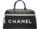 """Luxury Accessories:Bags, Chanel Black Quilted Lambskin Leather Travel Bag. Condition 2. 18.5"""" Width x 10.5"""" Height x 6"""" Depth. ..."""