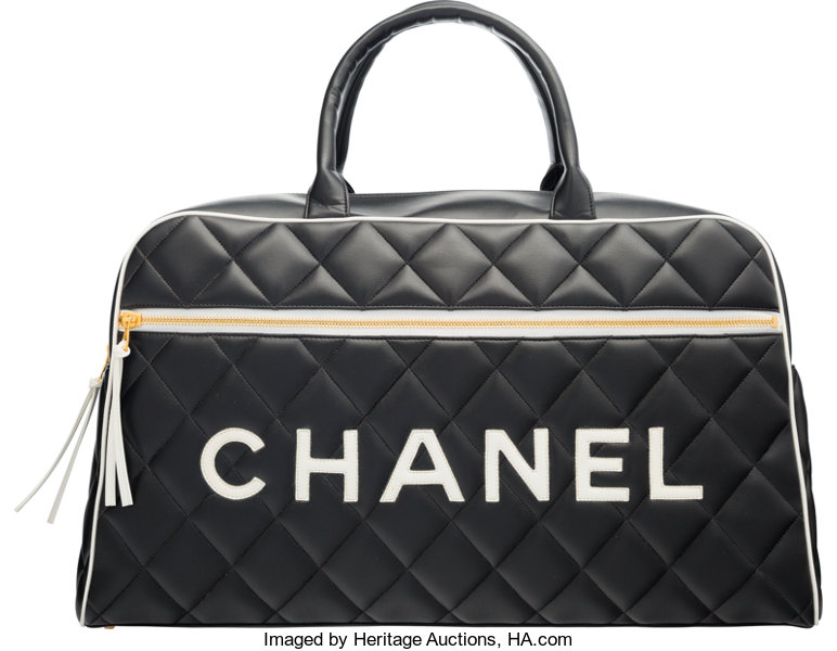 75c992d9ce37e6 Luxury Accessories:Bags, Chanel Black Quilted Lambskin Leather Travel Bag.  Condition 2.18.